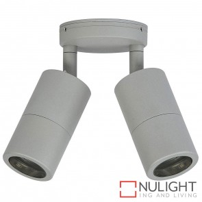 Silver Double Adjustable Wall Pillar Light 2X 10W Gu10 Led Cool White HAV
