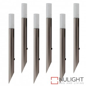 6 X 316 Stainless Steel Garden Spike Light With Frosted Glass Diffuser Kit 6X 1.4W G4 Led Cool White HAV