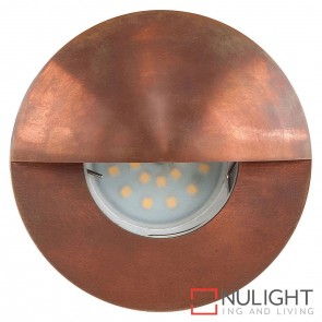 Copper Recessed Round Wall / Steplight With Eyelid 5W Mr16 Led Cool White HAV