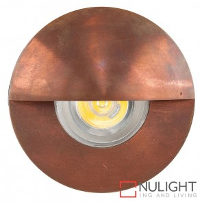 Copper Recessed Round Wall / Steplight With Eyelid 1W 12V Led Cool White HAV