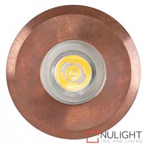 Copper Recessed Round Wall / Inground 1W 12V Led Warm White HAV