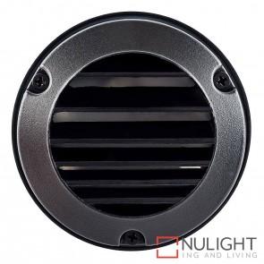 Black Round Surface Mounted Louvred Steplight 2.3W 12V Led Cool White HAV