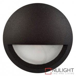 Black Round Surface Mounted Steplight With Eyelid 5W 12V Led Cool White HAV