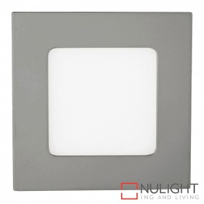 Silver Square Recessed Panel Light 4W 240V Led Cool White HAV