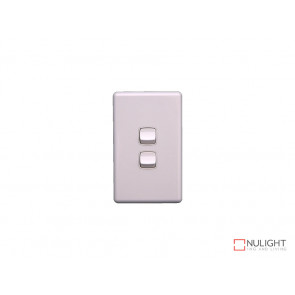 Grid Plate and Cover for 2 Gang Switch - White VBL