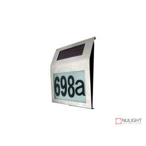 Illuminated House Numbers Light With Built In Solar Panel Warm White LED's Stainless Steel VBL