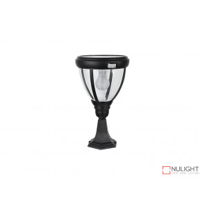 6.2W Bright White Solar Pillar Light In Black With Motion Sensor VBSLDPIL0007A6-2WPIR VBL