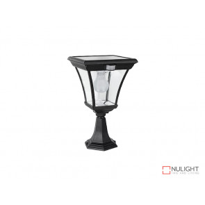 6.2W Bright White Solar Pillar Light In Black With Motion Sensor VBSLDPIL0008A6-2WPIR VBL