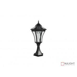 3.8W Bright White Solar Pillar Light In Black With Motion Sensor VBSLDPIL0009A3-8WPIR VBL