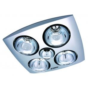 Contour 4 Heat 3 in 1 Bathroom Heater Fan and Light in Silver Martec