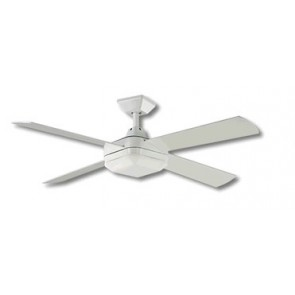 Quadrant 130cm Ceiling Fan in Gloss White with Fluoro Light Kit and Remote Martec