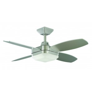 Quadrant Mini 106.7cm Ceiling Fan in Brushed Aluminium with Halogen Light Martec