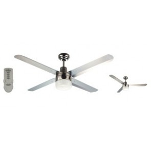 Trisera Interchangeable 3 or 4 Blade 150cm Ceiling Fan in Brushed Nickel with Clipper Light and Remote Control Martec