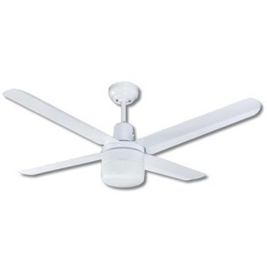 Trisera Interchangeable 3 or 4 Blade 150cm Ceiling Fan in White with Clipper Light and Remote Control Martec