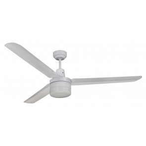 Trisera Interchangeable 3 or 4 Blade 150cm Ceiling Fan in White with Clipper Light Martec