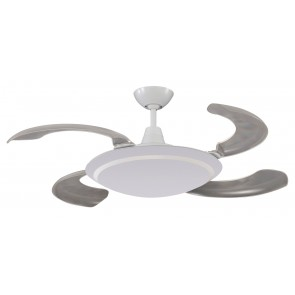 Wraptor Mini 4 Blade 95.5cm Retractable Fan & Light  in White Martec