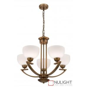 Hepburn 5 Light Pendant Aged Brass MEC
