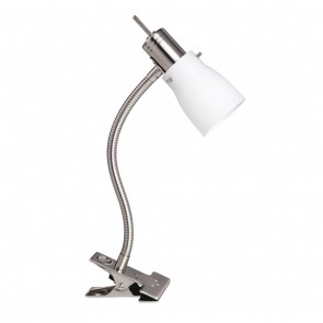 Macedon One Light Clamp Lamp in Brushed Chrome Mercator Lighting