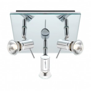 Stellar Three Light Spotlight on Plate in Polished Chrome Mercator Lighting
