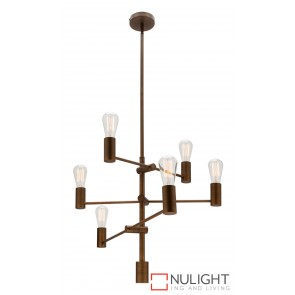 Diaz Pendant 6 Light 40W Pendant Aged Brass MEC