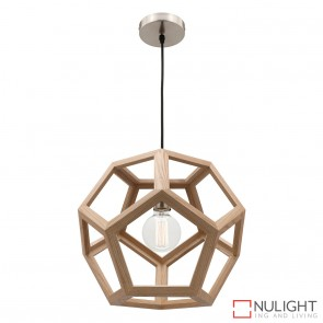 Peeta 1 Light Natural Timber Pendant - Large MEC
