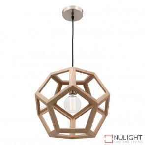 Peeta 1 Light Natural Timber Pendant - Large MEC