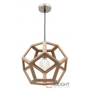 Peeta 1 Light Natural Timber Pendant MEC