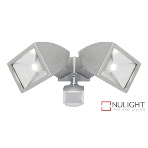Zone2 LED 2x11W Exterior Floodlight with Sensor Brushed Chrome MEC