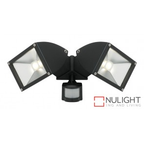 Zone2 LED 2x11W Exterior Floodlight with Sensor Black MEC