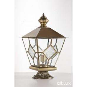 Naremburn Classic Outdoor Brass Made Pillar Mount Light Elegant Range Citilux