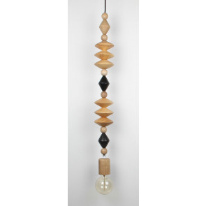 Wood pendant light in natural and black colour