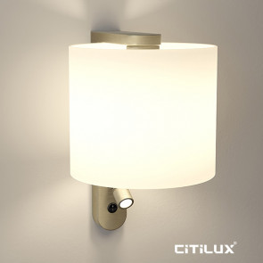 Pennsylvania Wall Light with Reading Lamp in Antique Brass Citilux