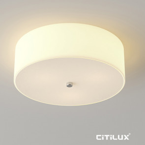 Tennessee plain cylinder shape with off white fabric shade ceiling light Citilux