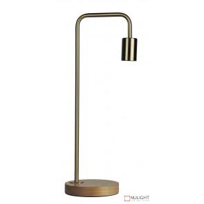 Lane Table Lamp Base Teak With Brushed Brass Arm ORI
