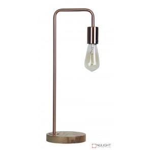 Lane Table Lamp Base Teak With Copper Arm ORI
