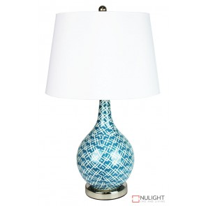 Chaka Teal Blue Decal Complete Table Lamp ORI