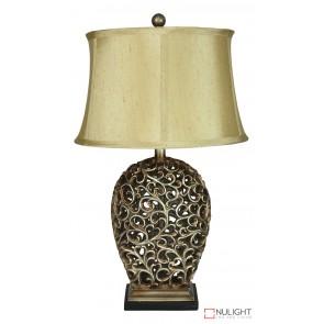 Donati Antique Silver Cut Complete Table Lamp ORI