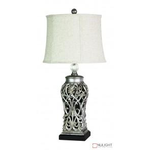 Dorne Antique Silver Cut Table Complete Lamp ORI