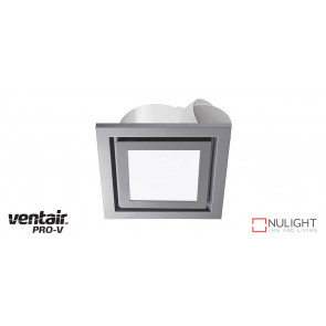 AIRBUS 200 - 200mm Quality Side Ducted Exhaust Fan With 10w LED Panel (642Lm) - Extra Low Profile - Square - Silver VTA
