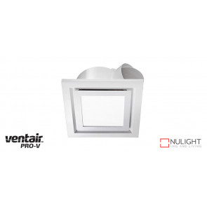 AIRBUS 200 - 200mm Quality Side Ducted Exhaust Fan With 10w LED Panel (642Lm) - Extra Low Profile - Square - White VTA