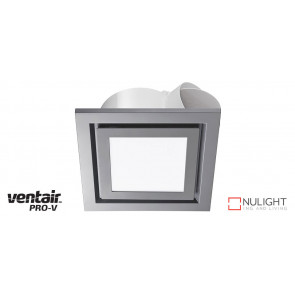AIRBUS 250 - 250mm Quality Side Ducted Exhaust Fan With 14w LED Panel (891Lm) Extra Low Profile - Square - Silver VTA