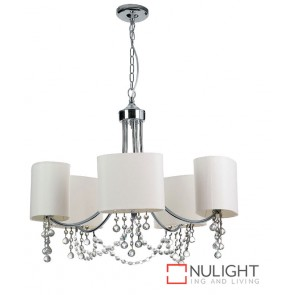 Decor 5 Light Pendant White Fabric ASU