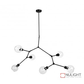 Padua 6 Light Pendant Matt Black - Clear Glass ORI
