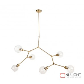 Padua 6 Light Pendant Satin Brass - Clear Glass ORI