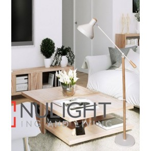 SWEDE FLOOR LAMP ES 60W BLONDE WOOD/White H1600mm x W720mm CLA