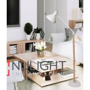 SWEDE FLOOR LAMP ES 60W BLONDE WOOD/White H1600mm x W720mm CLA
