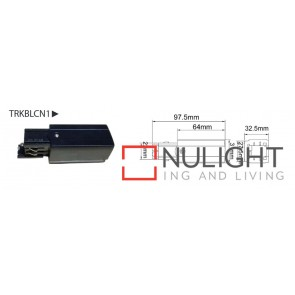 4 WIRE 3 Circuit TRACK LIVE END CAP Black CLA