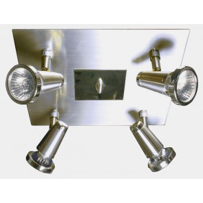 Sepia Four Light Plate Spotlight in Satin Brass or Satin Chrome V M Imports