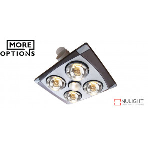 TAYLOR - 4 Light 3 in 1 Bathroom Heat Exhaust - side ducted - 6w LED R80 centre energy saver globe VTA