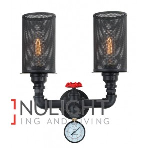 VENETO WALL INTERNAL 2*ES 72W Black IRON H380mm x W330mm (incl 25W Carbon Filaments Globes) CLA